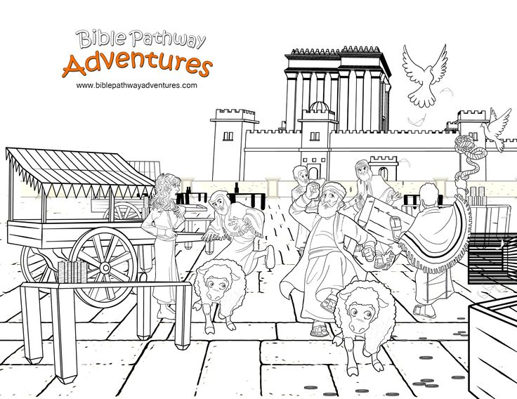 Jesus Yeshua Clears The Temple A Coloring Page For Kids From Bible