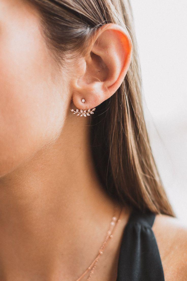 Leaf Ear Jackets. Minimalist woman jewelry | Minimalist silver accessories | Simple jewellery | Modern jewelry