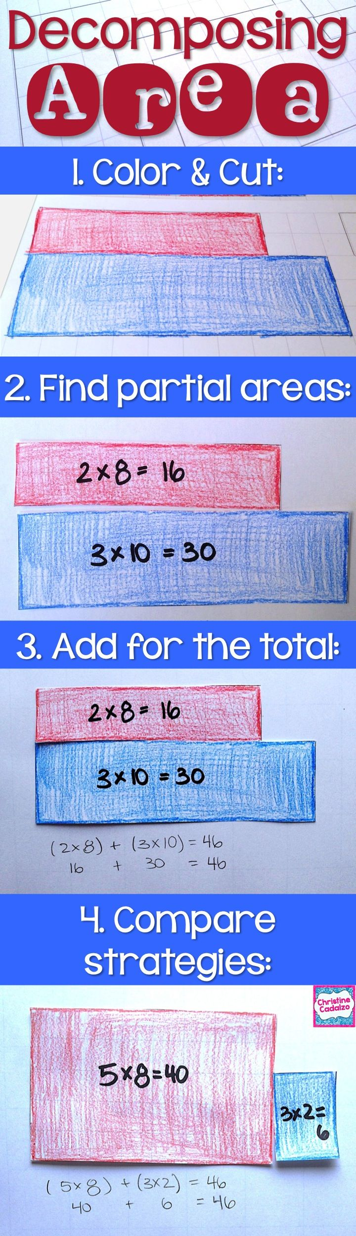 Teaching kids to find the area of composite shapes- math unit for teaching area. Hands-on, engaging math activities to help kids understand how to find the area of composite shapes. $