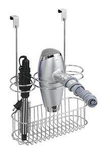 mDesign Support de sèche-cheveux à suspendre sur la porte du placard Avec rangement pour fer à boucler Chromé Organiseur de salle de bain