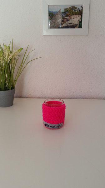 Teelichthalter - Teelichthalter S gehäkelt neon pink Windlicht - ein Designerstück von EvE-Paris bei DaWanda