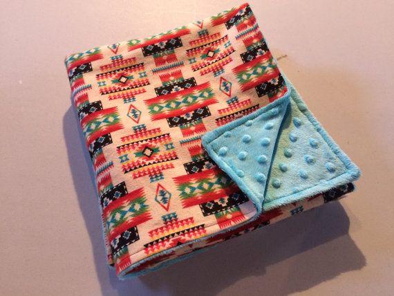 Teal Green Minky Navajo Print Baby Blanket Baby by StarBoundHorses