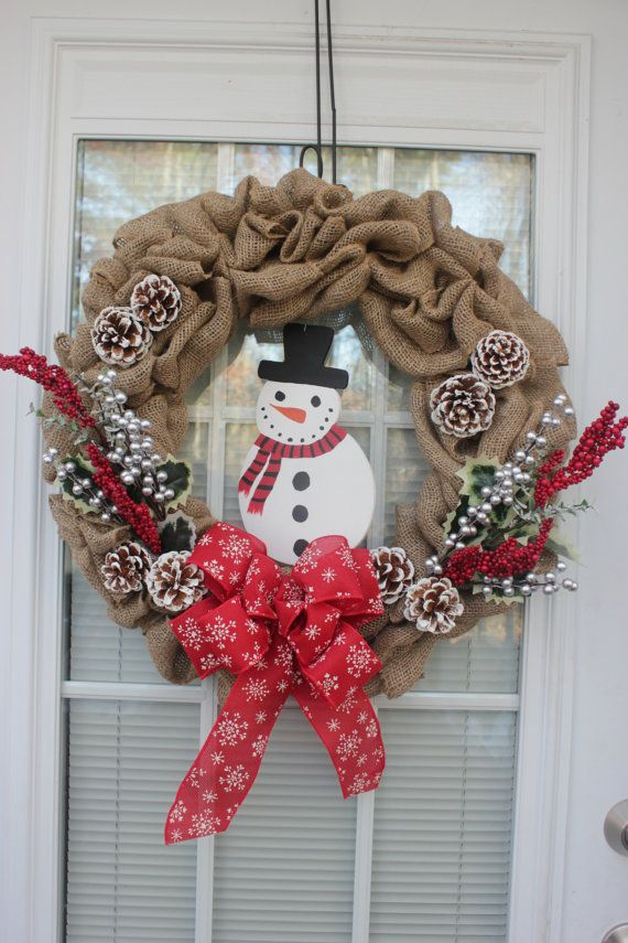 Winter burlap wreath snowman red and silver by for Burlap snowman wreath