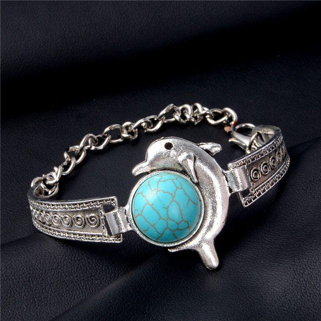H:HYDE Women Bohemian Retro Vintage Silver Color Owl Fatima Elephant Moon  Stone Charm Bracelets