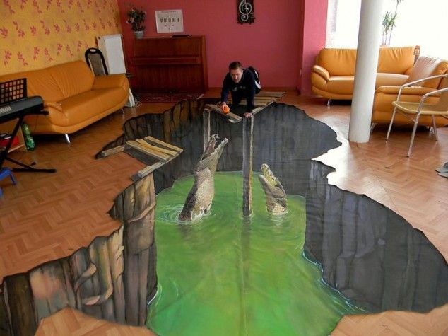 Crocodiles Eat A Anamorphic Painting By German Artist Nikolaj Arndt Something Of Specialist In This Kind Thing Installed On The Living Room Floor