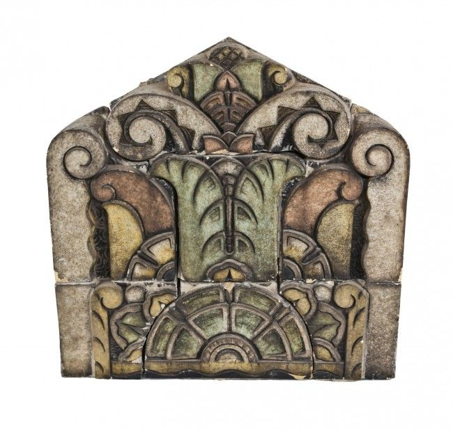 "massive one of a kind museum quality ""roaring twenties"" art deco style richman brothers exterior polychrome enameled centrally located terra cotta cornice panel."