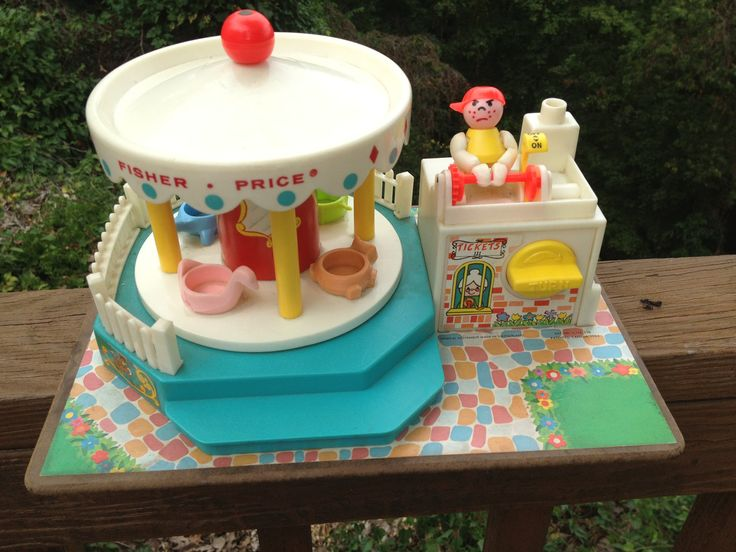 Vintage Fisher Price Musical Toy Merry Go Round Vintage 1970's Carnival Little People Toys less than 30. $29.95, via Etsy.