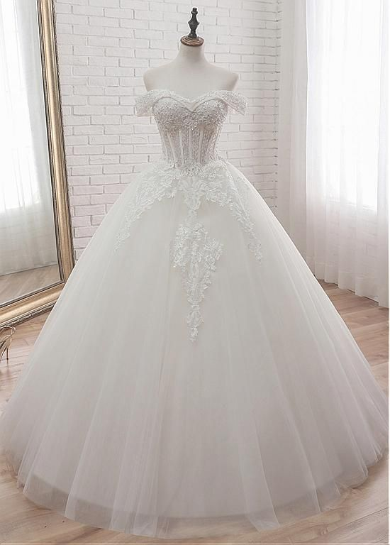 Lilybridalshop Glamorous Tulle Off-the-Shoulder Ball Gown Wedding Dress With Appliques & Beading