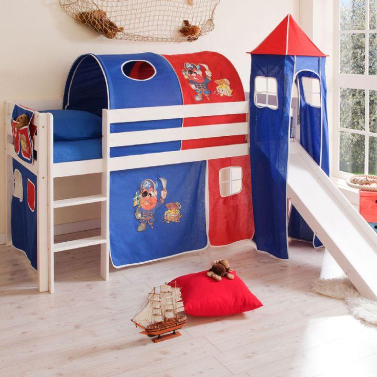 Kinderzimmer Blau Rot wand streichen ideen kreative wandgestaltung freshouse Ticaa Rutschbett Kasper Kiefer Wei Mit Turm Pirat Blau Rot Ticaa Hochbett