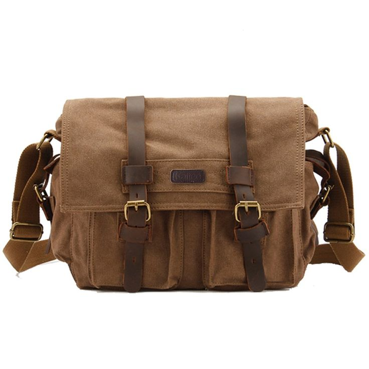 Amazon Kattee Classic Military Canvas Shoulder Messenger Bag Leather Straps Fit 16 Inch