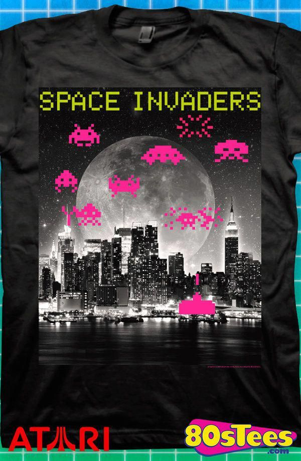 Space Invaders Alien Battle Arcade Game Men/'s T Shirt Hi-Score Vintage Atari Top
