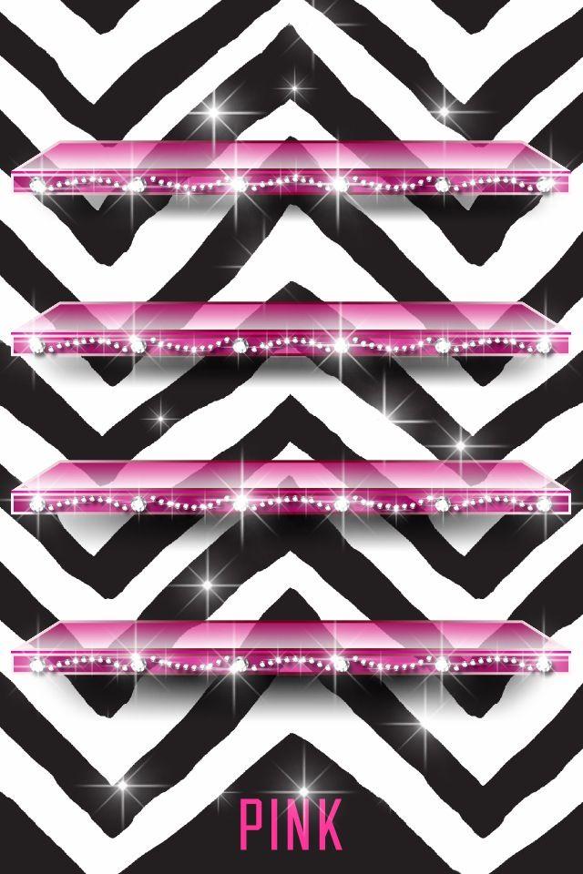 black chevron pink shelf iphone wallpaper pinterest