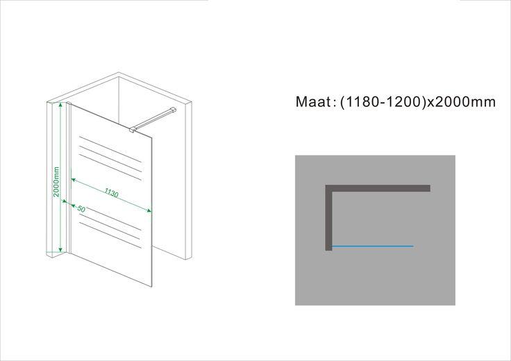 Sub Nano inl.douche + muurprof.1200x2000 10mm nano ged.matglas - 20.4210