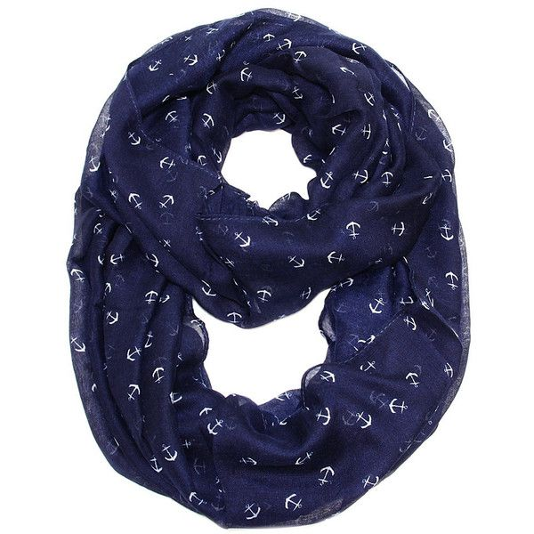 By the Sea Tiny Anchor Infinity Scarf  Navy found on Polyvore featuring accessories, scarves, navy shawl, navy scarves, infinity loop scarves, infinity scarves and round scarf