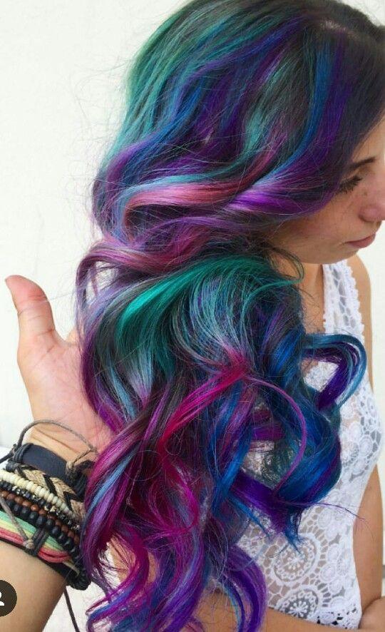 Purple green blue dark rainbow dyed hair inspiration @glamhairartist