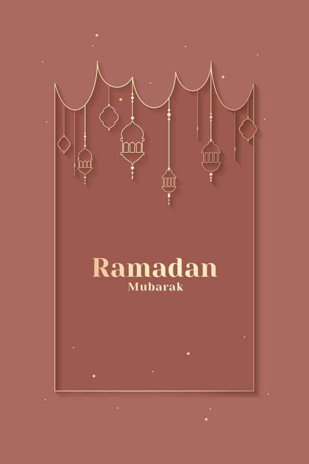 Ramadan Framed Card Design Free Vector Seni Islamis Kartu Seni