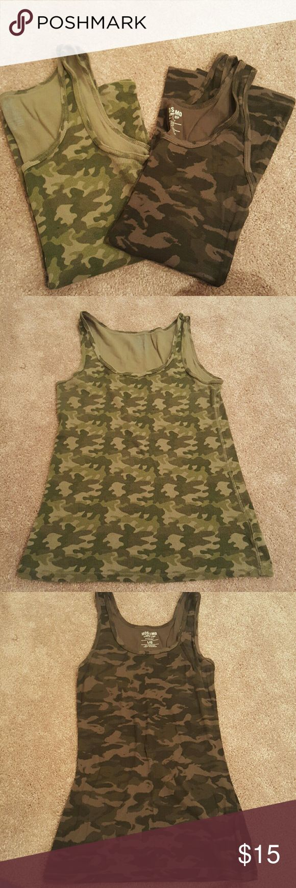 Camo tank tops bundle of 2 2 camo tank tops.  Both are EUC worn only a few times. the lighter one (2nd pic) is an XL Faded Glory brand and the darker one is a large Mossimo brand.  Can fit an XL. Mossimo Supply Co. Tops Tank Tops