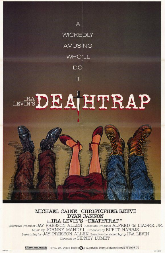 Deathtrap , starring Michael Caine, Christopher Reeve, Dyan Cannon, Irene Worth. A Broadway playwright puts murder in his plan to take credit for a student's script. #Comedy #Crime #Mystery #Thriller