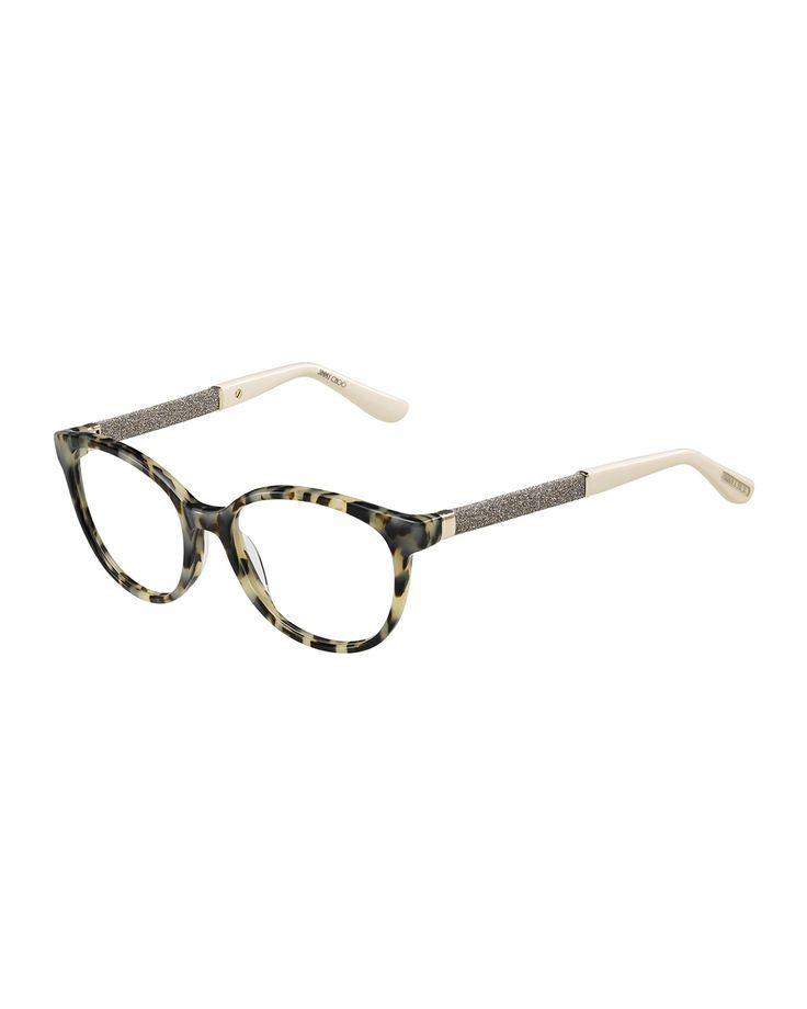 Jimmy Choo Eyeglass Frames With Rhinestones : Shimmer-Temple Optical Frame, Light Havana - Jimmy Choo ...