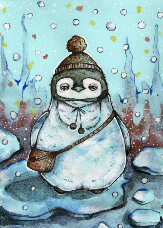 Author's drawing.Little penguin on the ice. Print от LullabyForFox