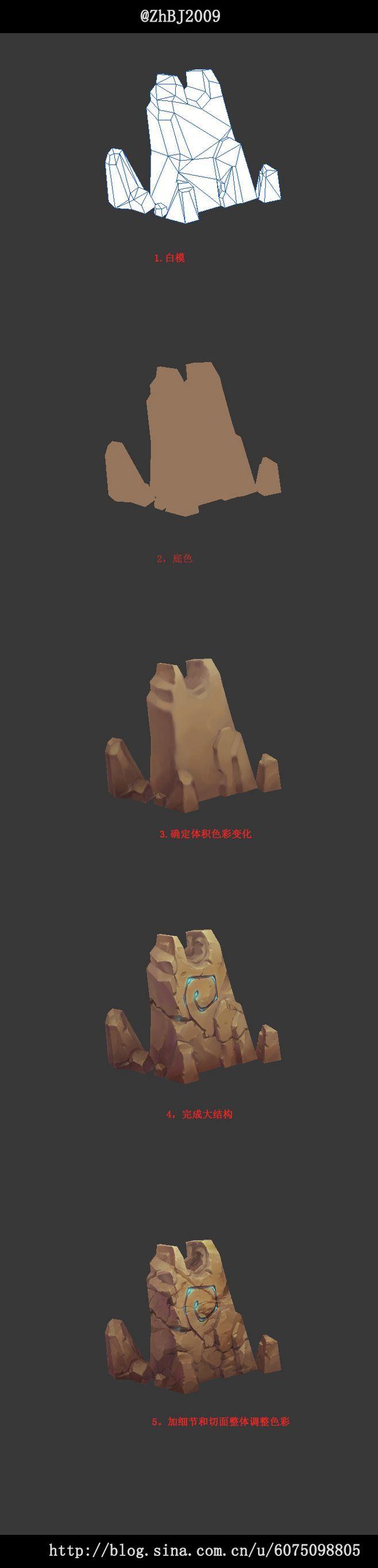 低模石头游戏模型场景道具绘画步骤