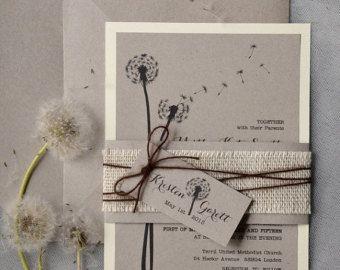 Dandelion Invitation, Rustic Wedding Invitation,  Recycling  Eco  Invitation, Love is in the air Invitation, Burlap Invitations