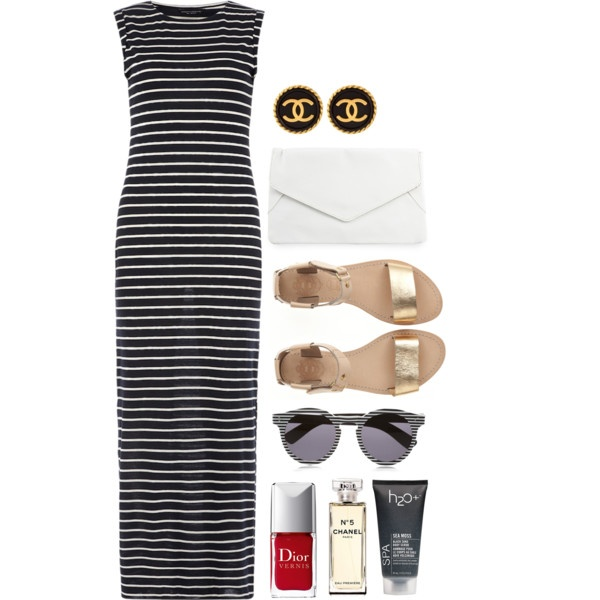 Striped maxi dress outfit