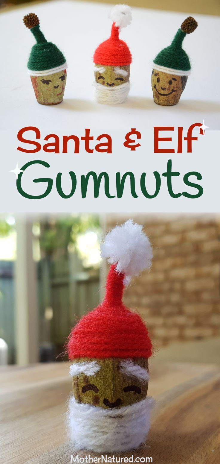 Santa and Elf Christmas Gumnut Craft #Christmascraft