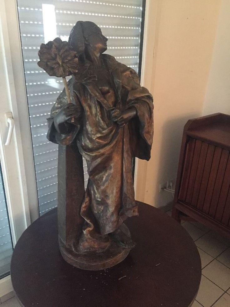 sculpture en bronze orientaliste Gaston leroux Art Deco 90 Cm