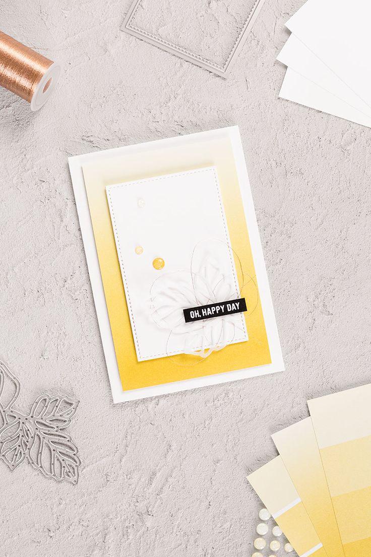 Die Geburtstagskarte Oh Happy Day, welche mit dem Designerpapier Farbenspiel in Curry-Gelb und den Thinlits Rosengarten von Stampin' Up! gestaltet wurde.