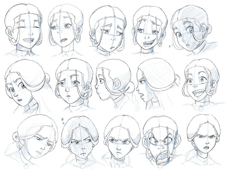 Character Design Concept Tutorial : Avatar the last airbender katara expressions