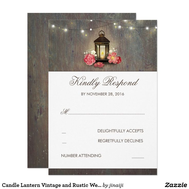 Candle Lantern Vintage and Rustic Wedding RSVP Card Vintage metal lantern and rustic wood wedding reply cards