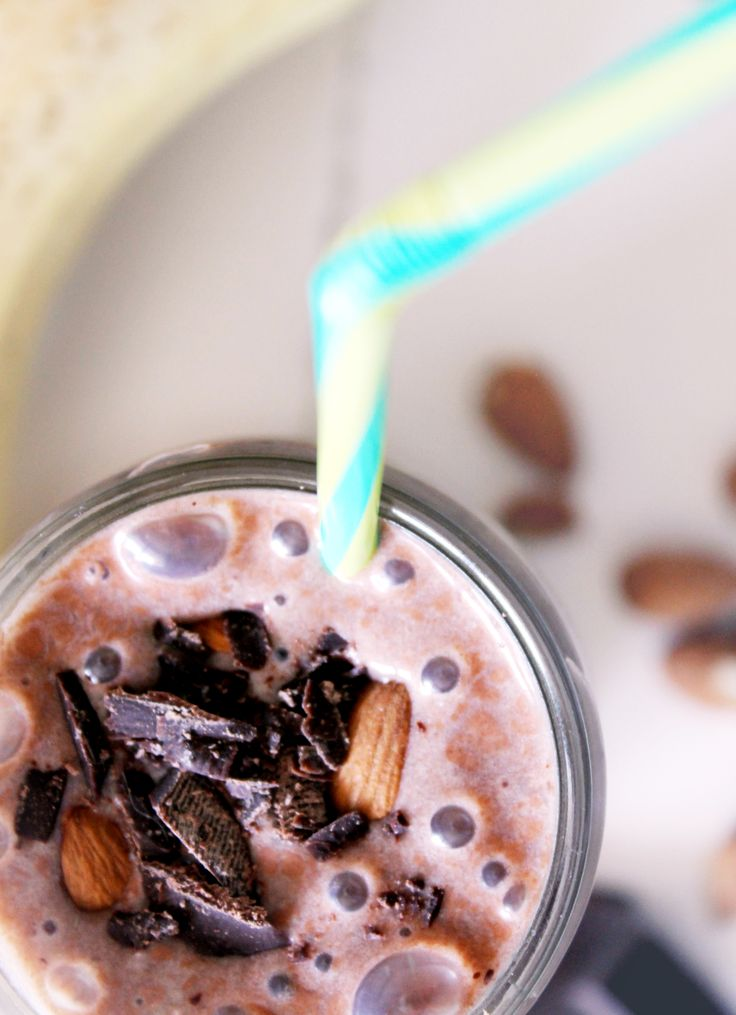 """Healthy """"pick me up"""" chocolate, banana and almond smoothie."""