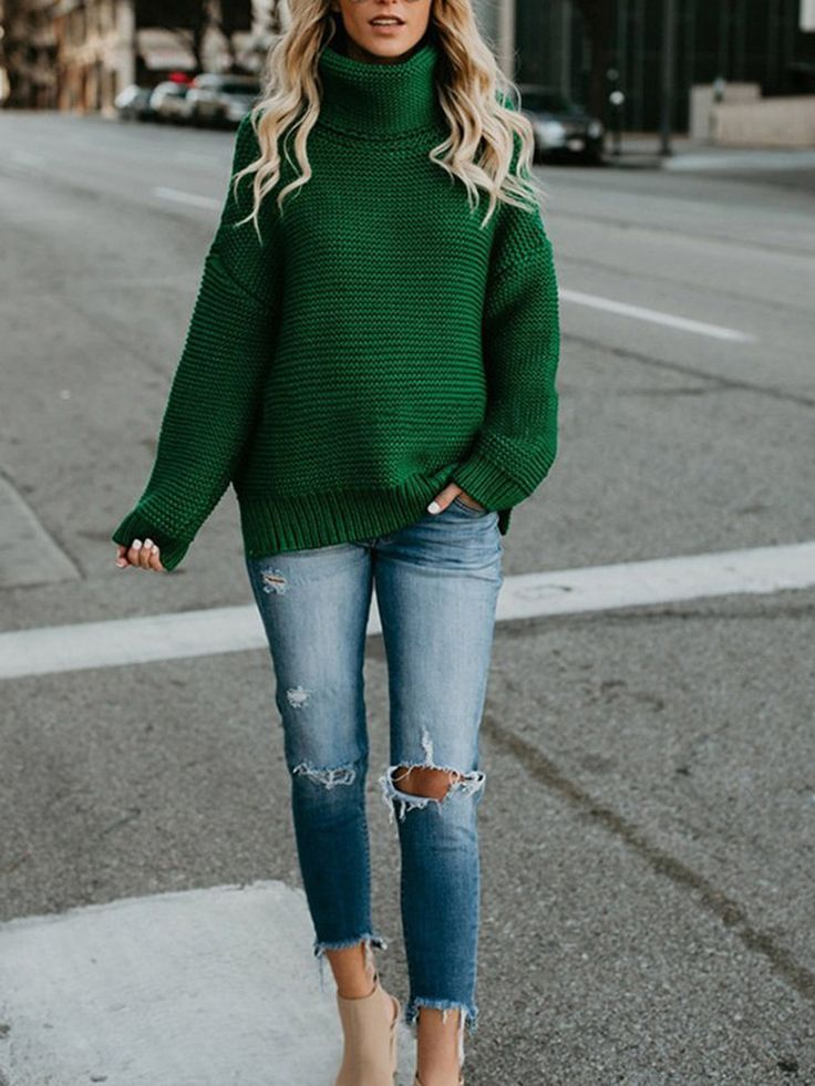 a7718fd40d9 Acrylic Knitted Solid Winter Turtle Neck Sweater - JustFashionNow ...