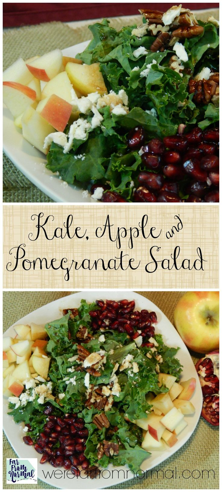 Delicious Kale Salad With Apples and Pomegranate #kale #pomegranate #salad #healthy