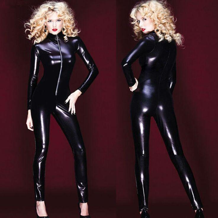 Sexy-Black-Latex-PVC-Bodysuit-Cat-Women-Faux-Leather-Catsuit-Erotic-Wet-Look-Bodycon-Punk-Fetish