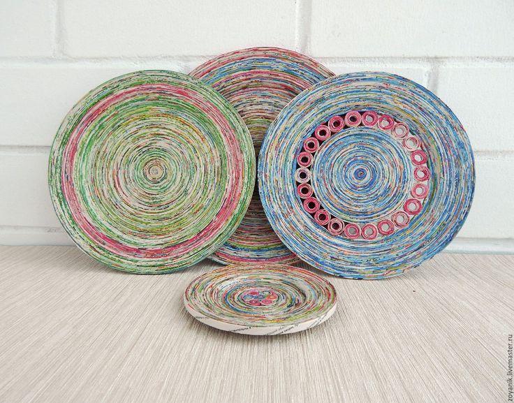 Купить Настенные тарелки из газетных трубочек. - комбинированный, голубой, розовый, желтый, зеленый, Тарелка декоративная
