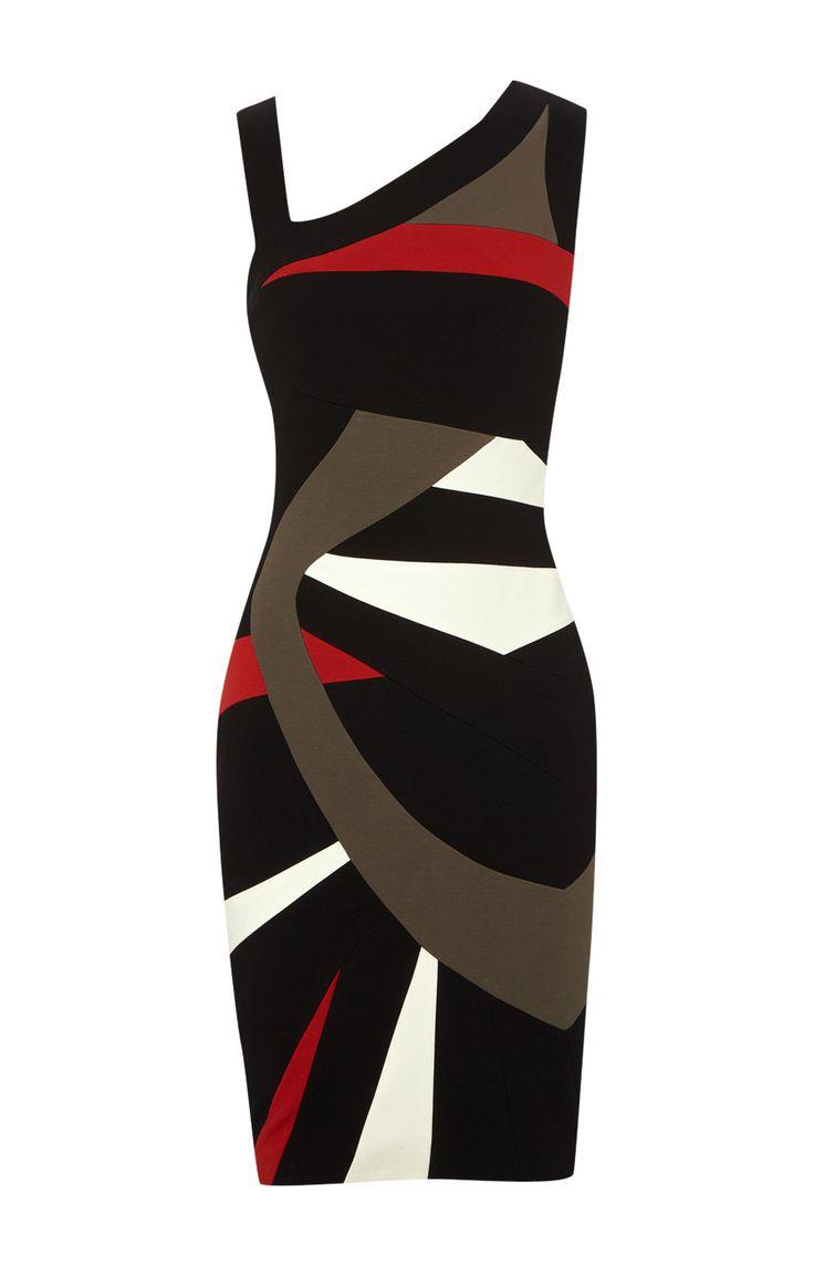 Karen Millen Colour Block Dresses Black and Multicolour - - $89.34