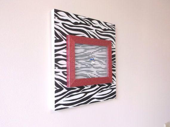 Earring Holder Pink Room Decor Zebra Decor by JustAddJewelry