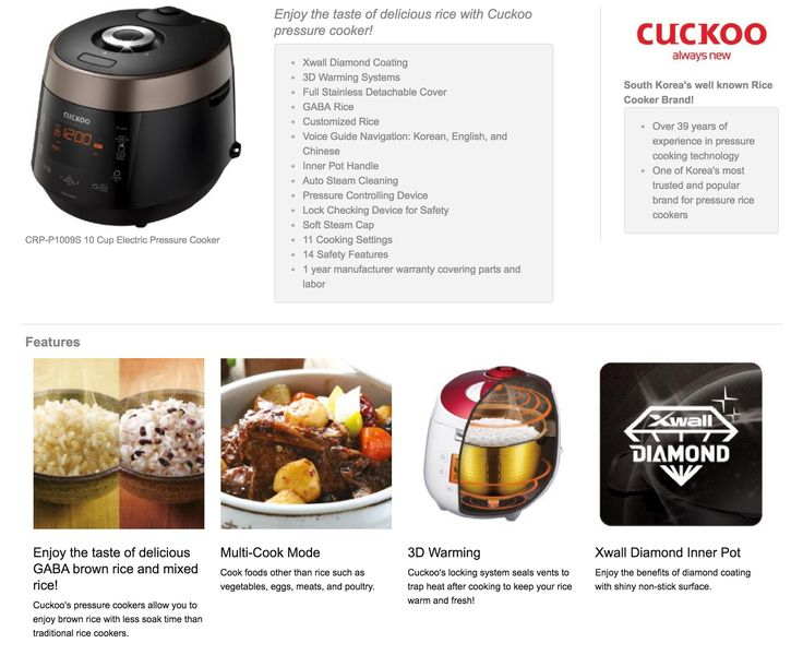 crpp1009s rice cooker features