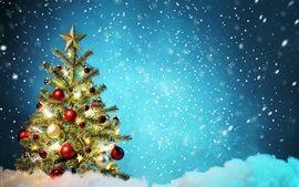 árvore de natal, bolas coloridas, neve, inverno, bonito
