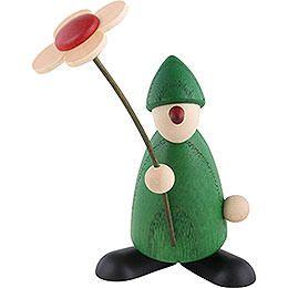 Gratulant Paule mit Blume gratulierend, grün  -  9cm