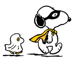 snoopy and woodstock in Halloween costumes