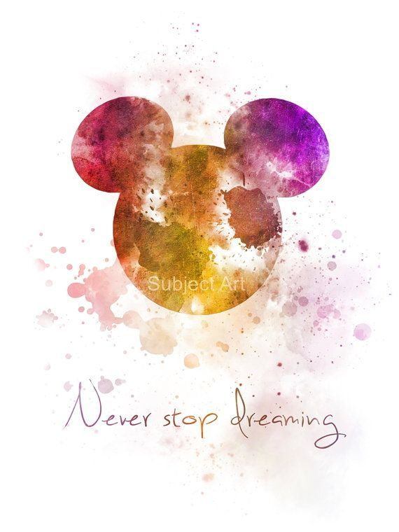 Disney Tattoo – ART PRINT Never Stop Dreaming Quote illustration, Mickey Mouse, Wall Art, Home Decor