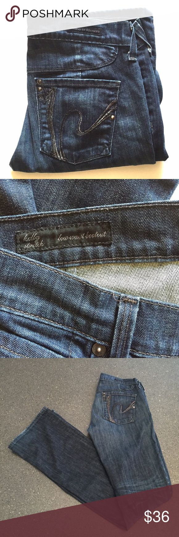 """🌟FLASH SALE 🌟Citizens of Humanity Kelly sz 28 Citizens of Humanity Kelly stretch low waist boot cut jeans. Has slight fraying and wear at hem as seen in photo #4. 98% cotton 2% elastane. Inseam 33.5"""" leg opening 8"""". Sale price is firm unless bundled. 🌟 Citizens of Humanity Jeans Boot Cut"""