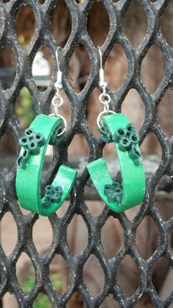 Paper Quilled St. Patrick's Day Earrings - paper quilling earrings, paper quilled jewelry, paper quilling jewelry, eco friendly earrings