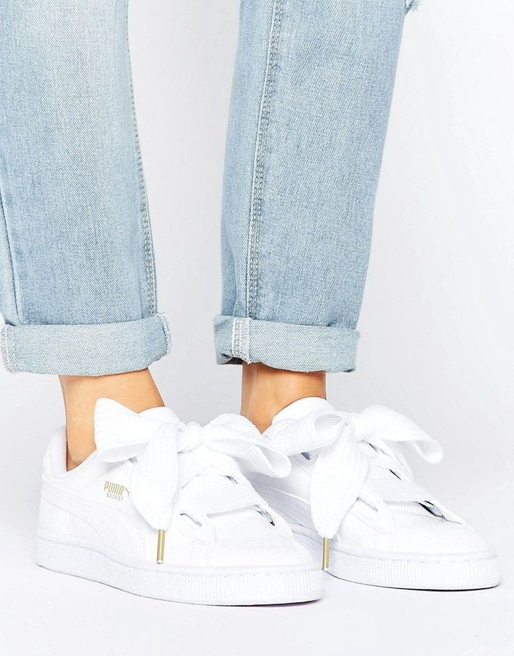 Puma Basket Heart Sneakers In Patent White - White