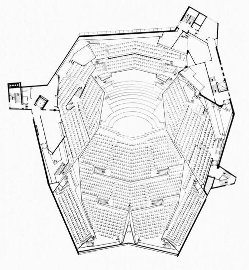 Hans Scharoun, Berlin Philharmonic Hall, Floor Plan, Berlin, Germany, 1960-1963