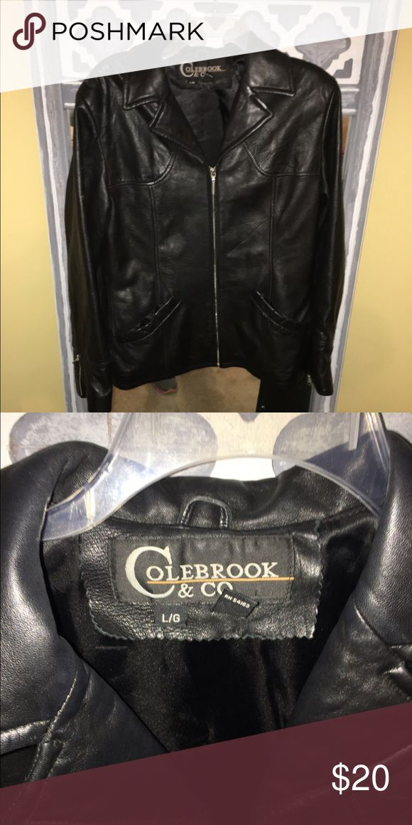 Ladies leather jacket Ladies black leather jacket in size large. In excellent condition from Wilsons leather. Wilsons Leather Jackets & Coats Pea Coats