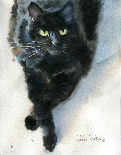 Black Cat Art Original Watercolor Painting Pet by rachelsstudio